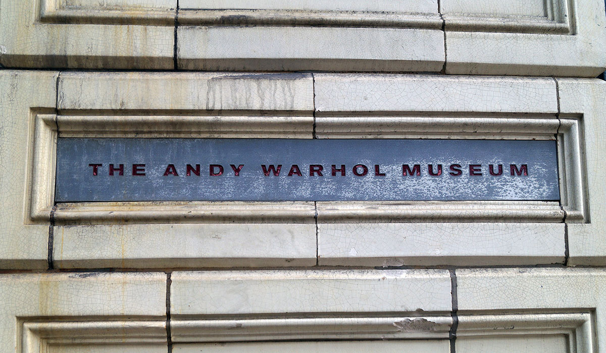 Sign outside the Andy Warhol Museum in Pittsburgh Pennsylvania