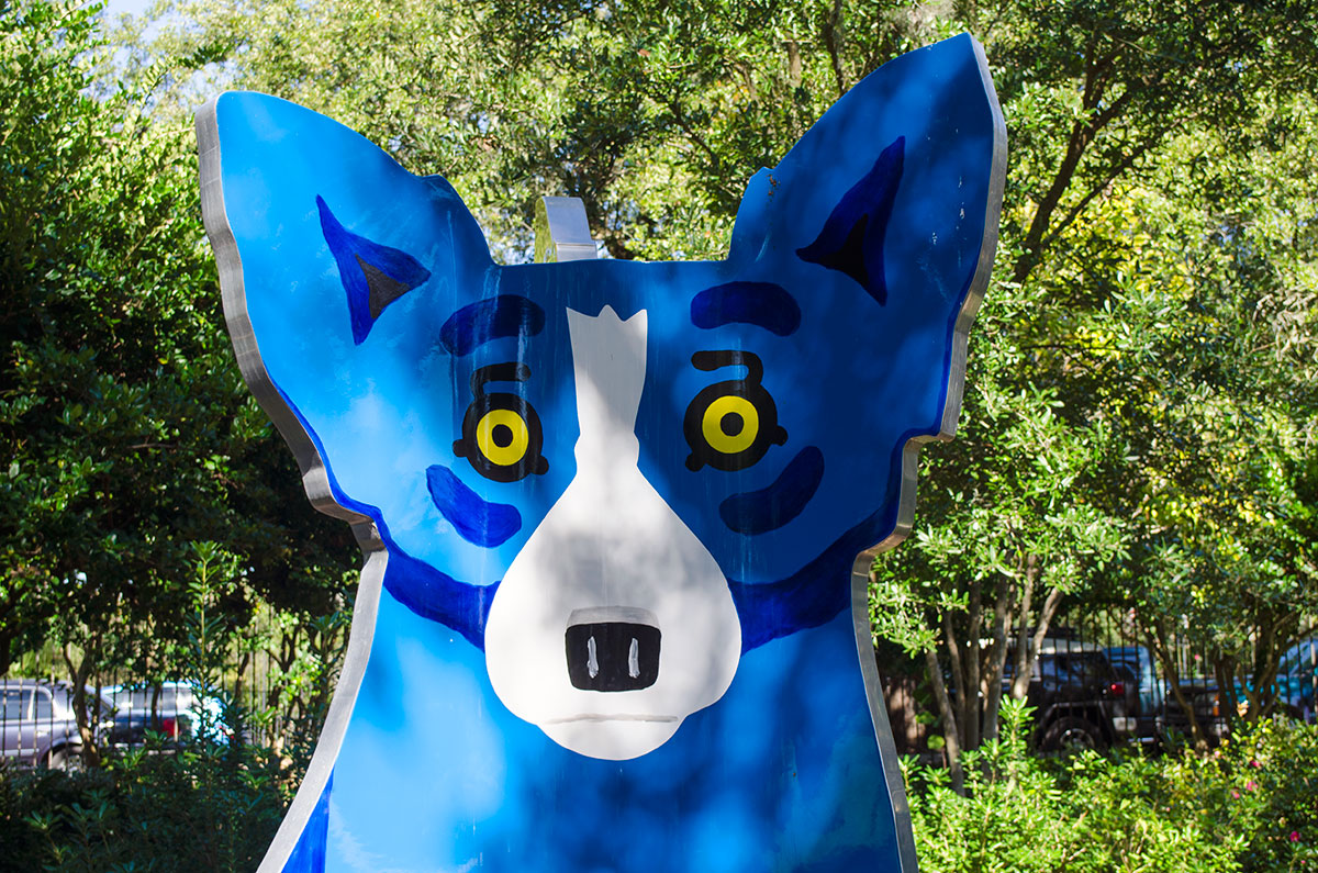 A George Rodrigue blue dog sculpture at City Park in New Orleans Louisiana