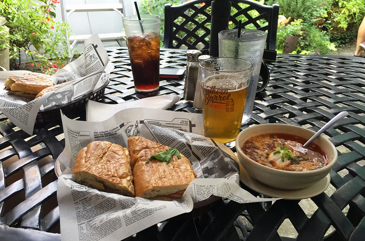 Sandwiches, soup, and beer, at the Brown Dog Deli in Charleston South Carolina