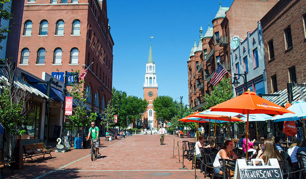 View of Church Street Marketplace in Burlington Vermont
