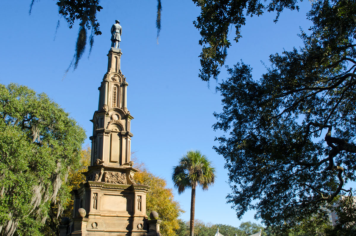A Confederate Memorial Statue located at the center of Forsyth Park in Savannah Georgia