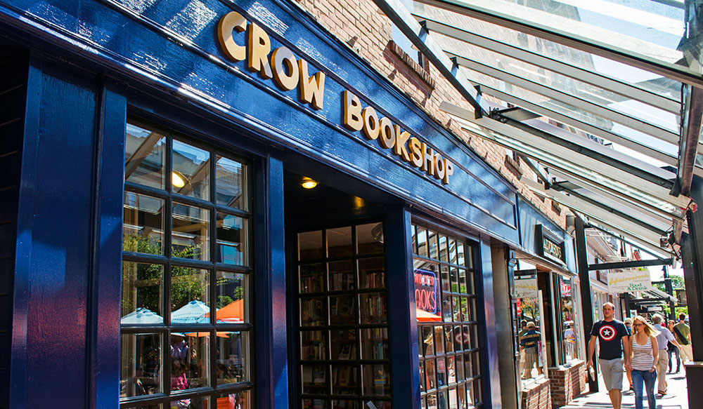 Outside the Crow Bookshop in Burlington Vermont