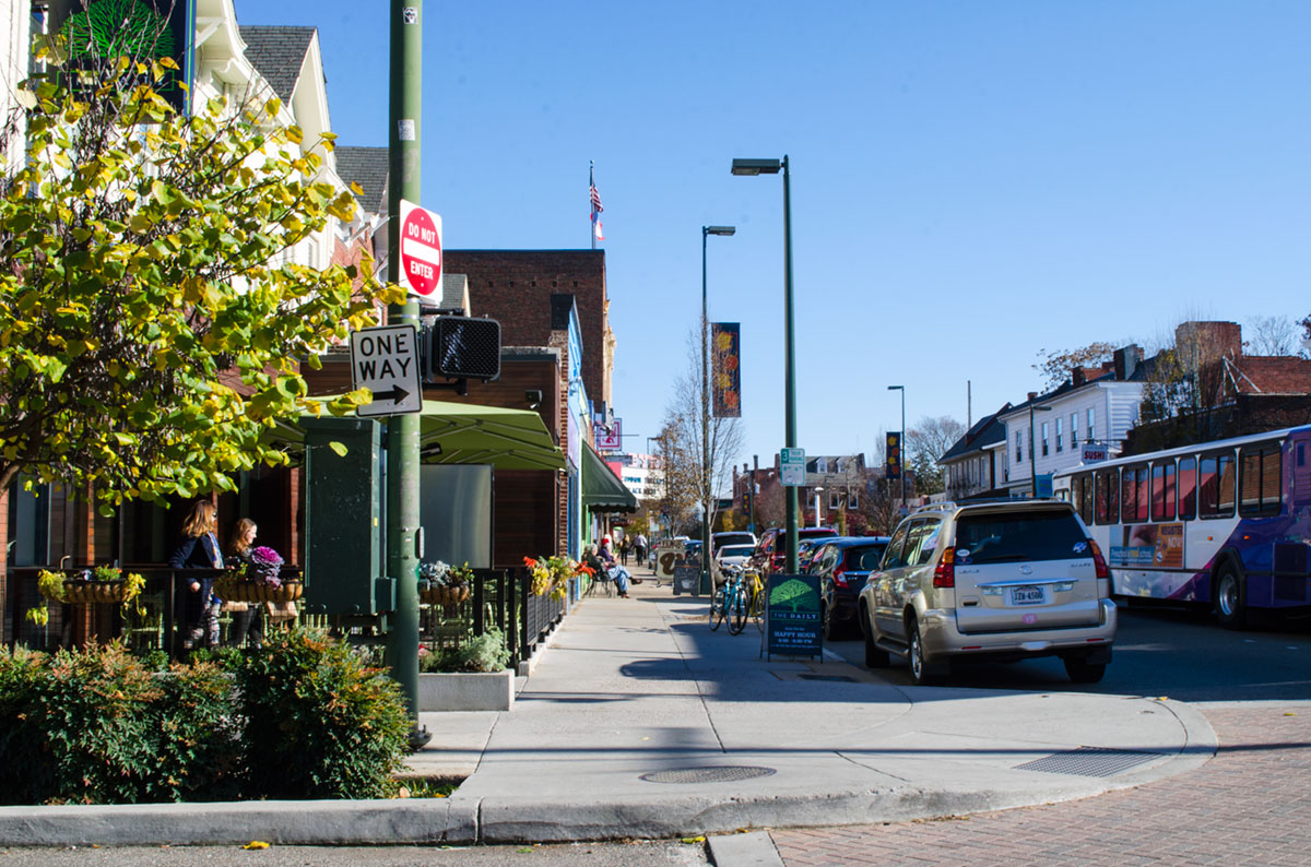 Cary street in downtown Carytown Virginia