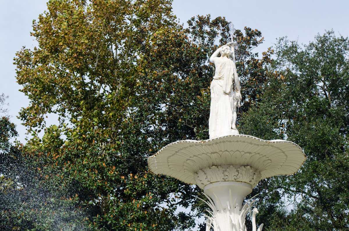 The top of the fountain at Forsyth Park in Savannah Georgia