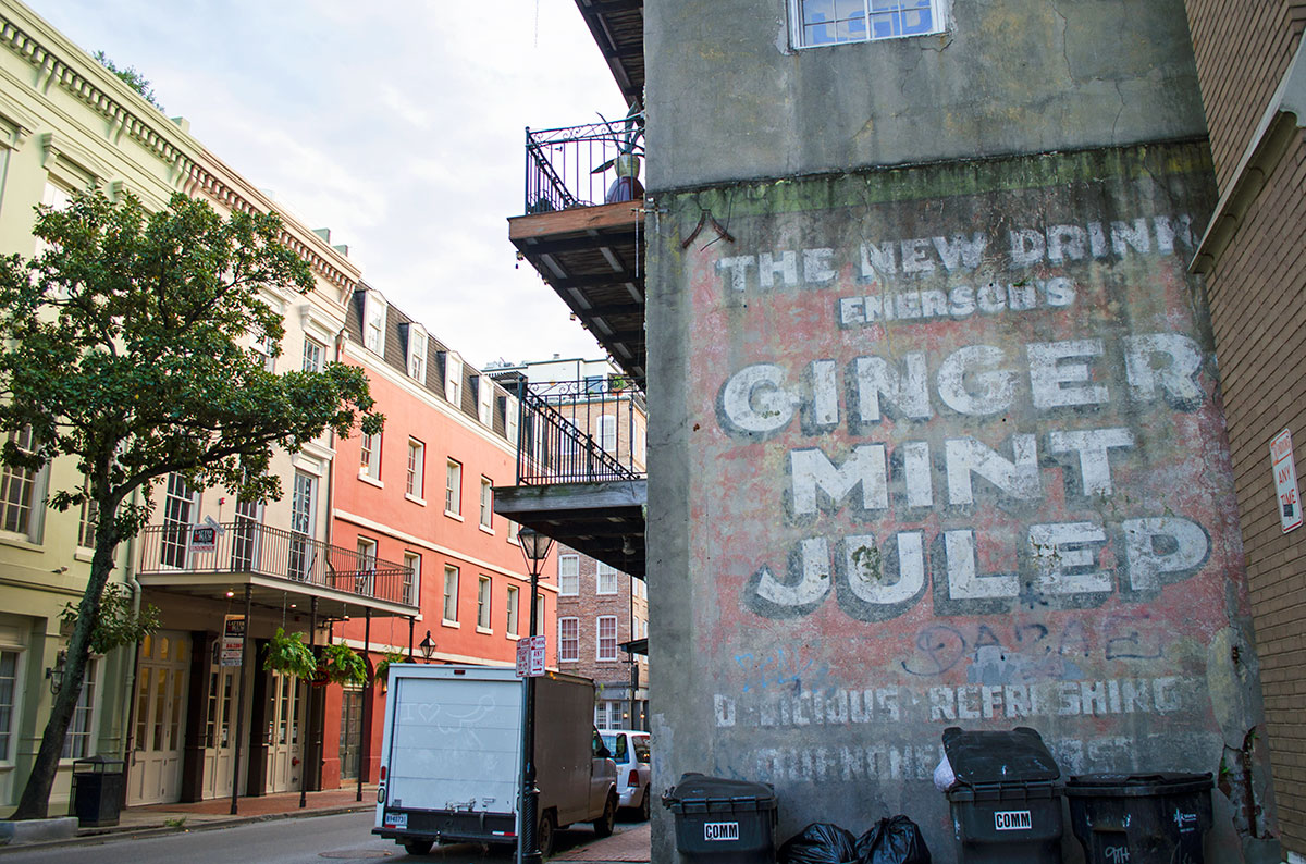 Ginger Mint Julep sign on Decatur street in New Orleans Louisiana