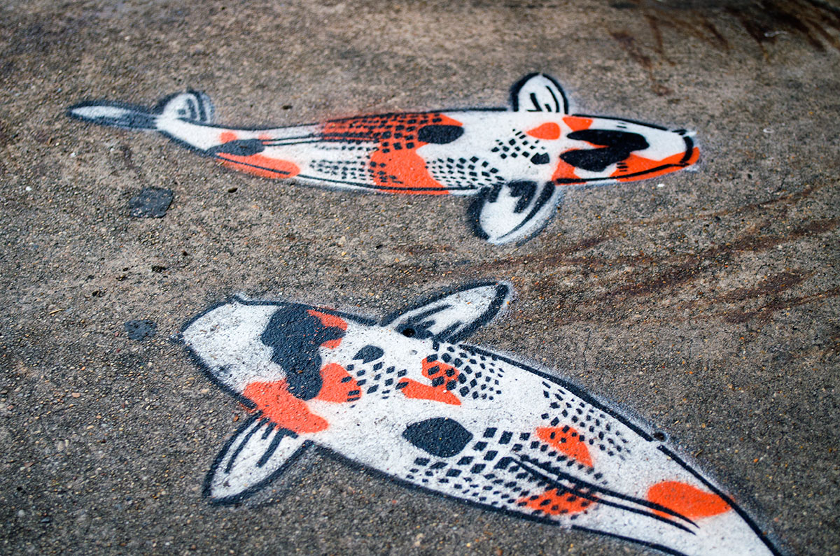 Koi fish street art painted on a sidewalk in New Orleans Louisiana