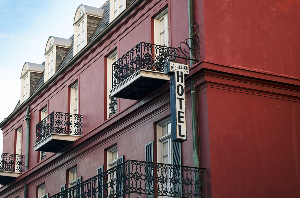 Le Richelieu Hotel located on Chartres Street in New Orleans Louisiana