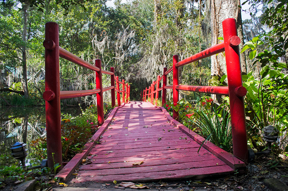 A red bridge in Magnolia Plantation in Charleston South Carolina