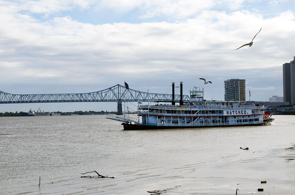 Natchez Ferry on the Mississippi River in New Orleans Louisiana