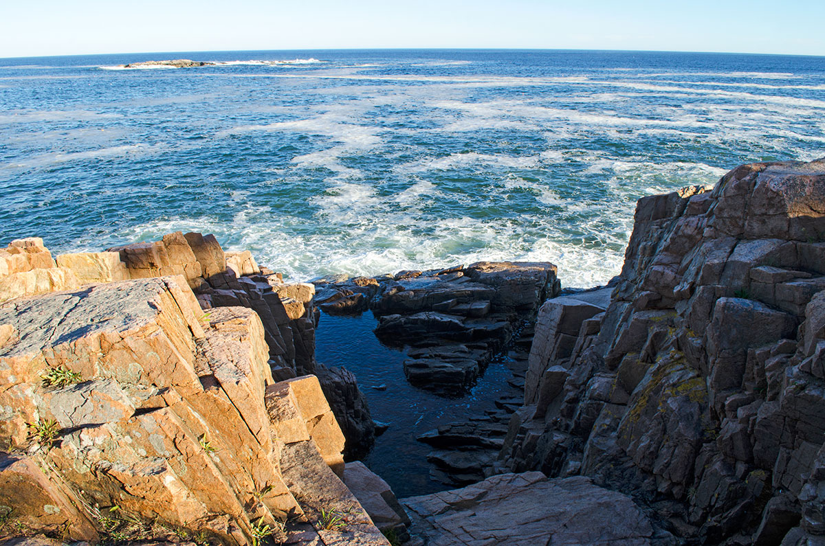 The rocky coast of Ocean Path in Acadia National Park Maine