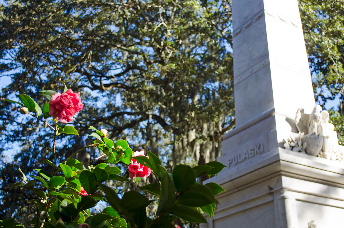 The Pulaski Obelisk located at Monterey Square in Savannah Georgia which we saw during our gap year