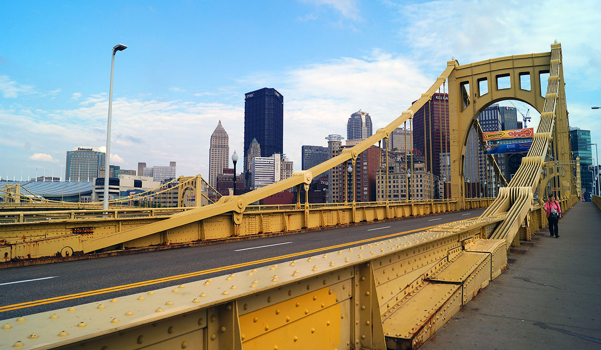 Roberto Clemente Bridge in Pittsburgh Pennsylvania