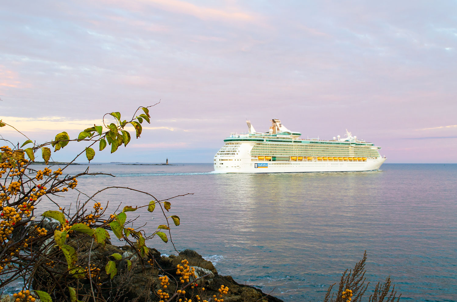 A Royal Caribbean cruise ship passes by Fort Williams Park in Maine