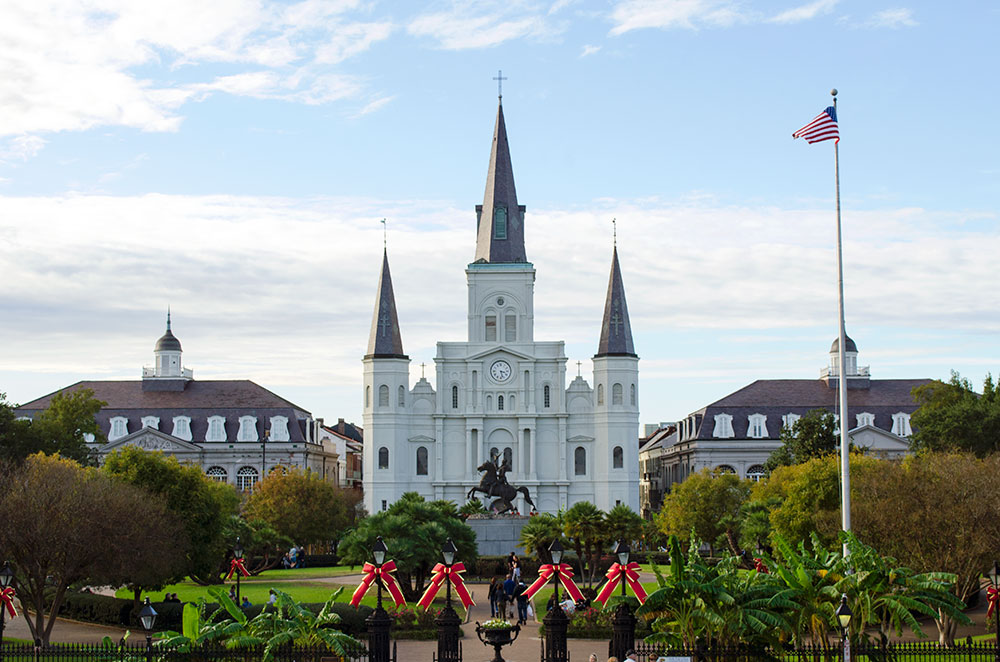 Jackson Square and St. Louis Cathedral in New Orleans Louisiana