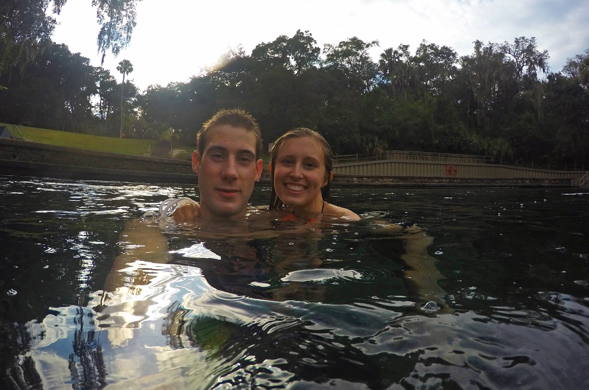 Brad and Leslie swimming at Wekiwa Springs State Park in Apopa Florida