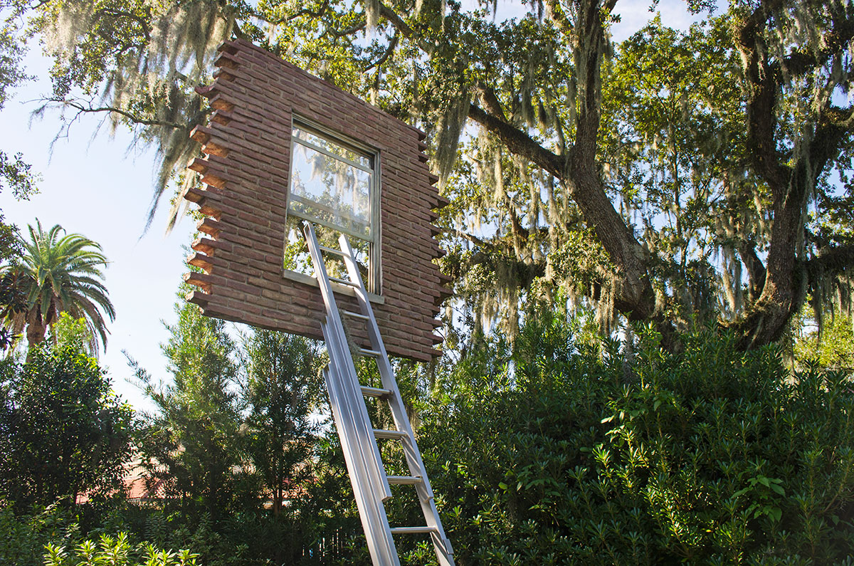 The Window and Ladder Too Late For Help sculpture located at City Park in New Orleans Louisiana