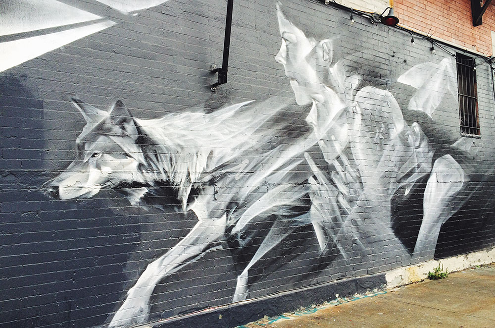 A wolf painted graffiti style for the Bushwick Collective in Brooklyn New York City