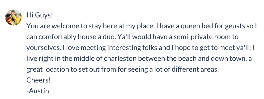 A message form our Couchsurfing host in Charleston South Carolina