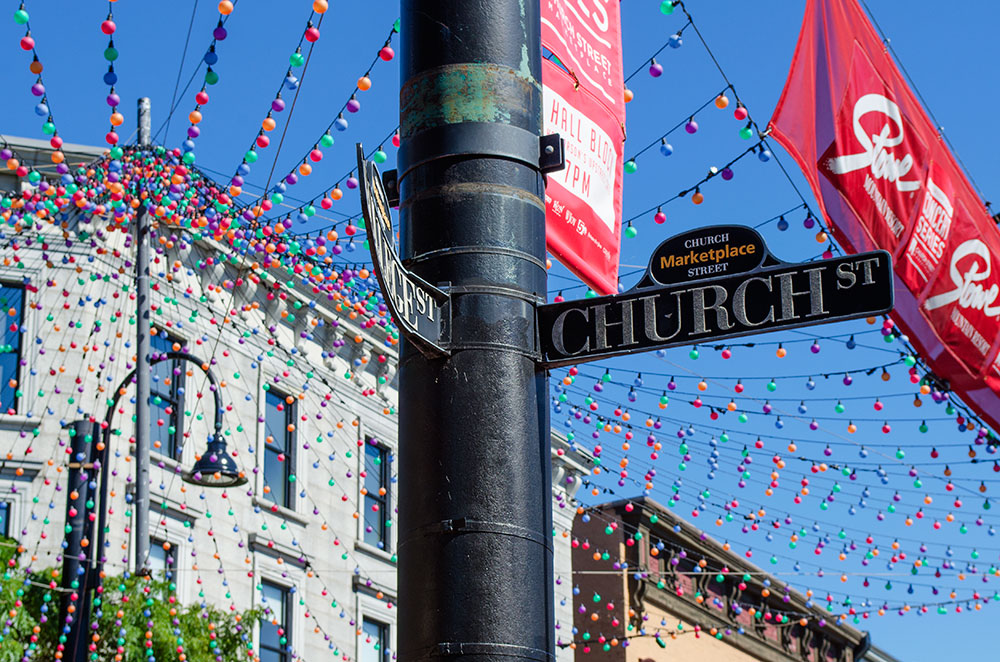 The street sign for Church Street at the Church Street Marketplace