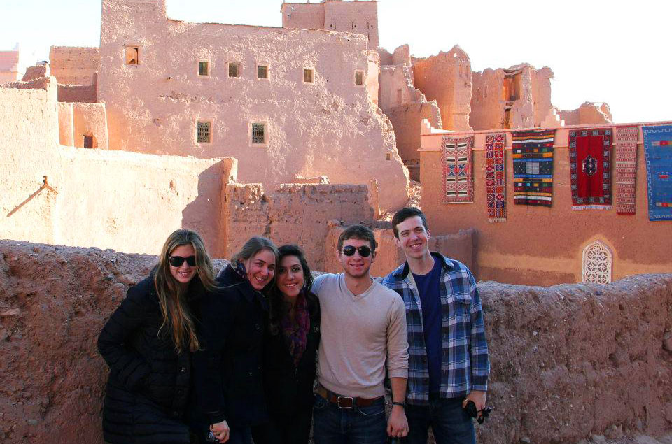 Danny Magerman with friends at a Moroccan Casbah during a break from Kivunim