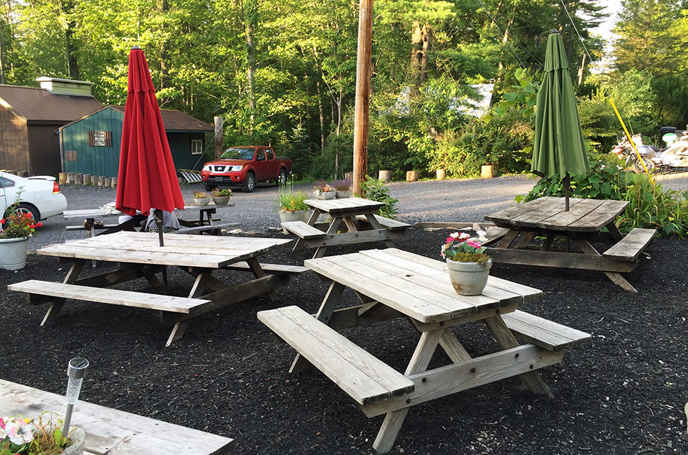 he outdoor seating area at Dones Boans near State College Pennsylvania
