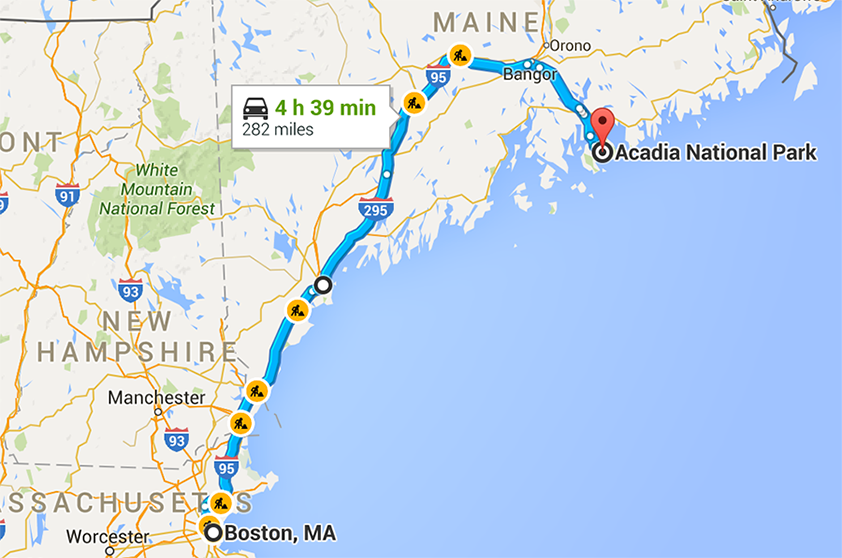 a map of our route driving from Boston to Acadia for our trip Acadia National Park