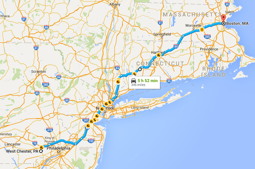 a map of our route driving to Boston for our trip Acadia National Park