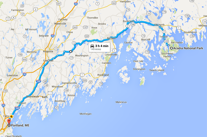 a map of our route driving from Acadia to Portland for our trip Acadia National Park