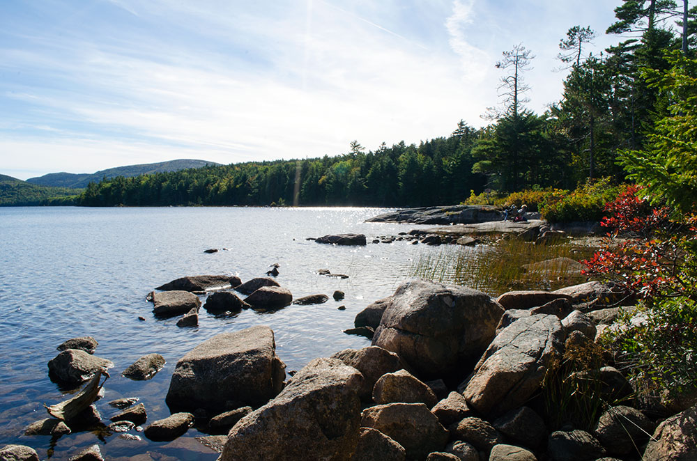 The waterfront of Eagle Lake near Carriage Road in Acadia National Park
