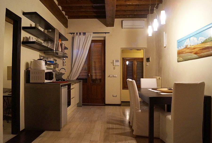 The kitchen at the second Florence Airbnb we rented for our third airbnb experience