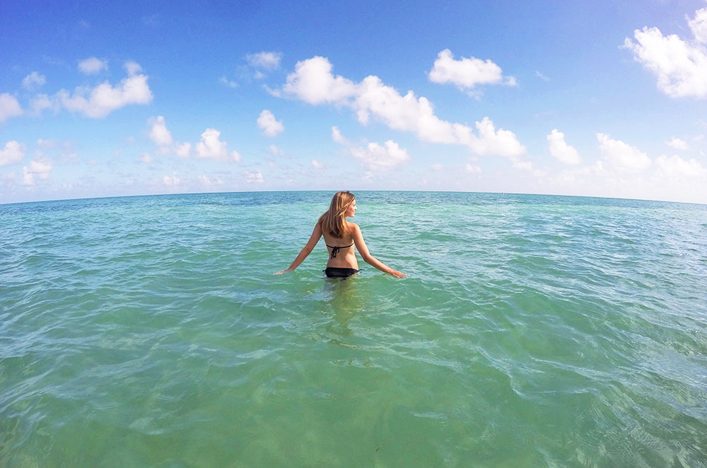 Leslie in the waters of Key Biscayne near Miami Florida during our gap year