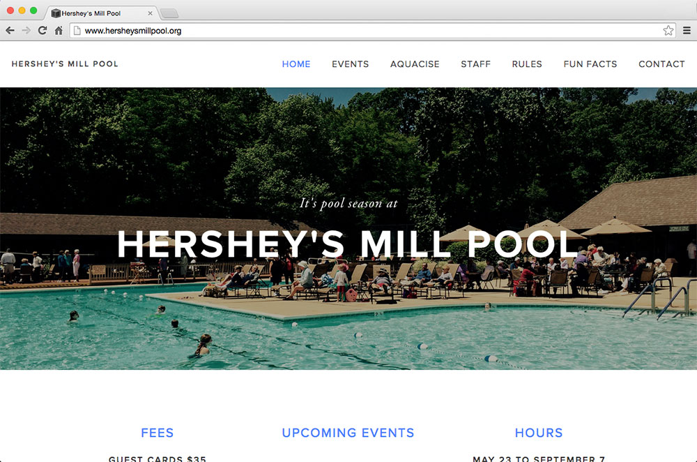 Leslie did freelance web design for Hershey Mills Pool to save a travel fund