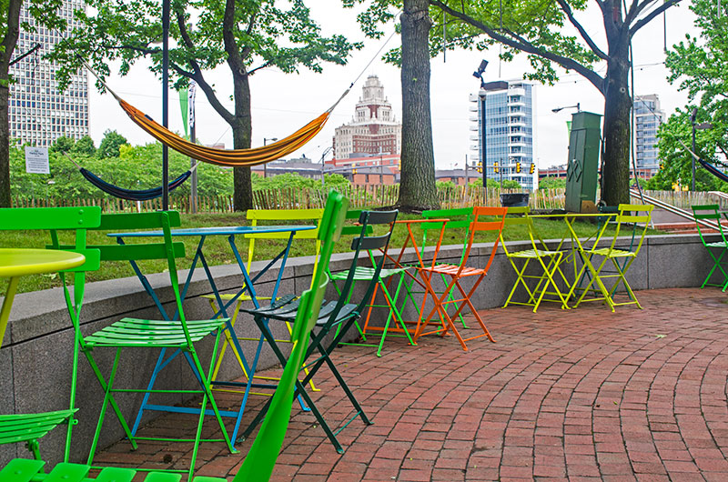 Green chairs in Spruce Street Harbor Park Philadelphia Pennsylvania