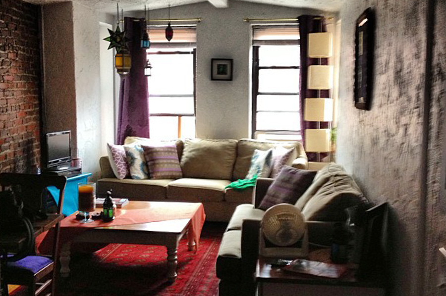 Inside the living room of the Boston Airbnb we rented for our fourth airbnb experience