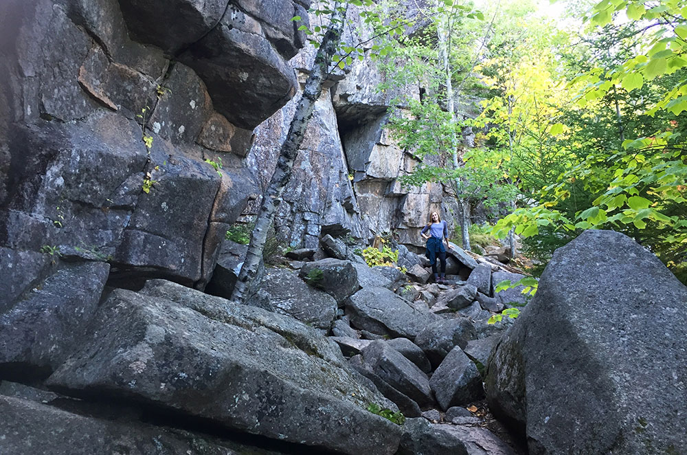 Leslie on the Gorham Mountain Trail while hiking Acadia National Park