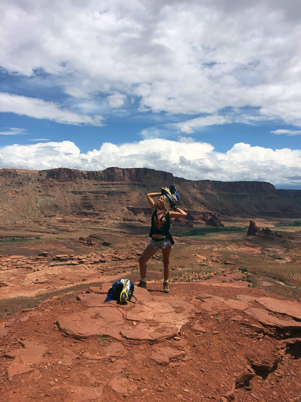 Kellie Mogg riding ATVs in Moab Utah during her Gap Year experience