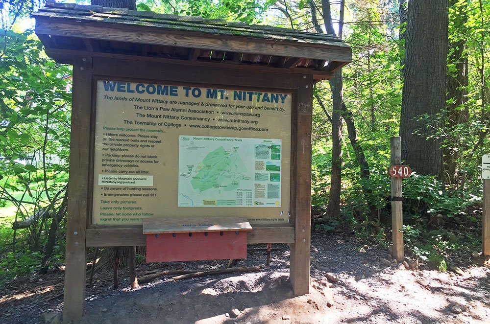 The welcome sign to Mount Nittany in State College Pennsylvania