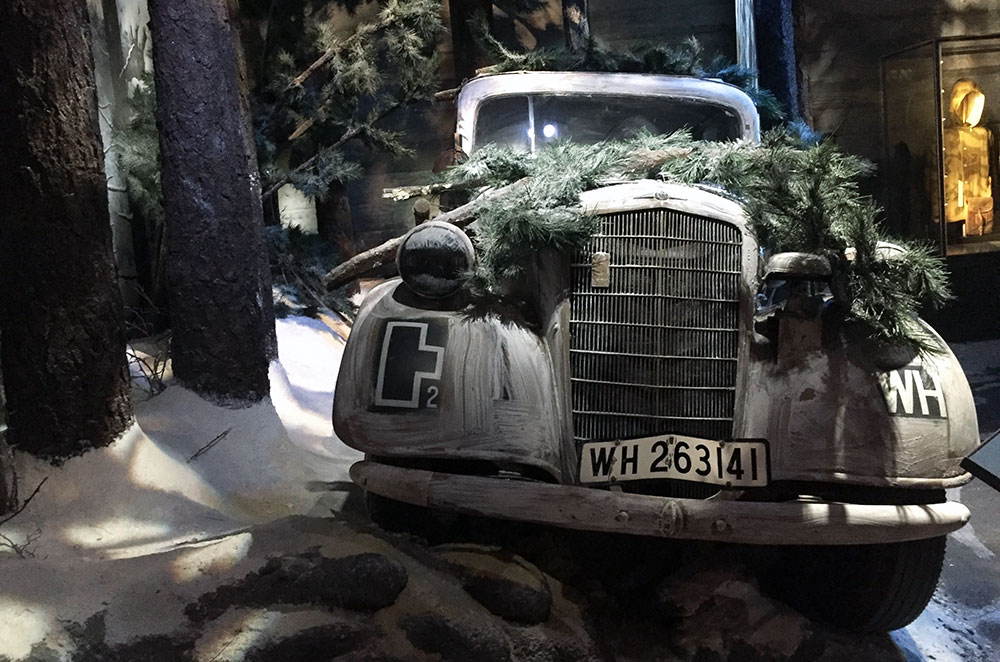 Car in the Battle of the Buldge display at the National WWII Museum in New Orleans Louisiana