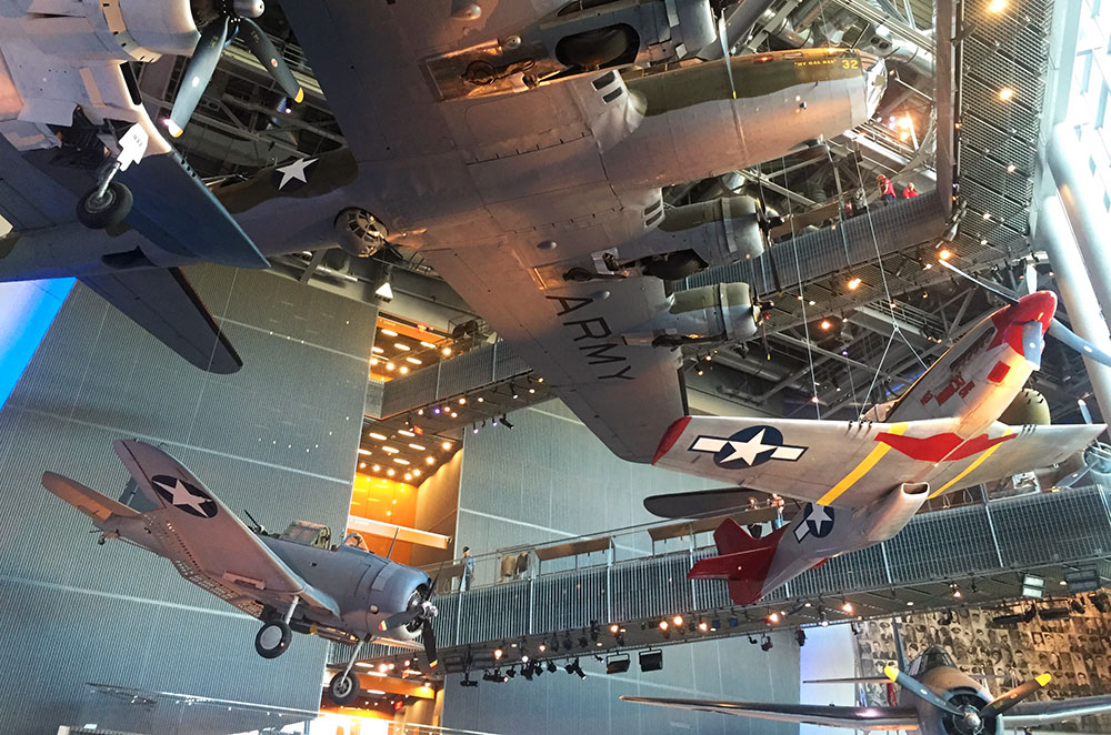 Planes hanging inside the National WWII Museum in New Orleans Louisiana