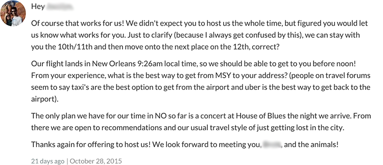 Negative Couchsurfing Experience message 5 to host