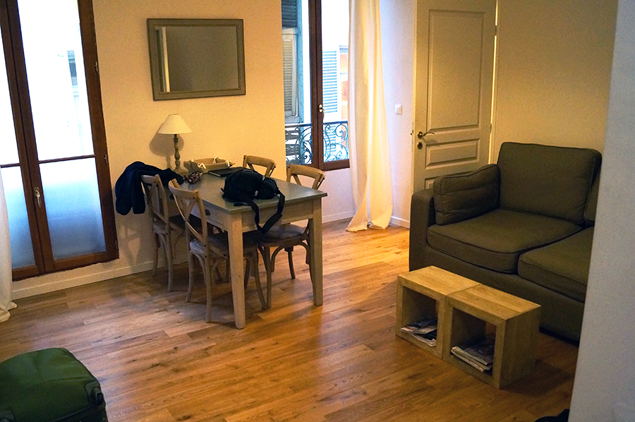 The living space of the Nice France Airbnb we rented for our second airbnb experience