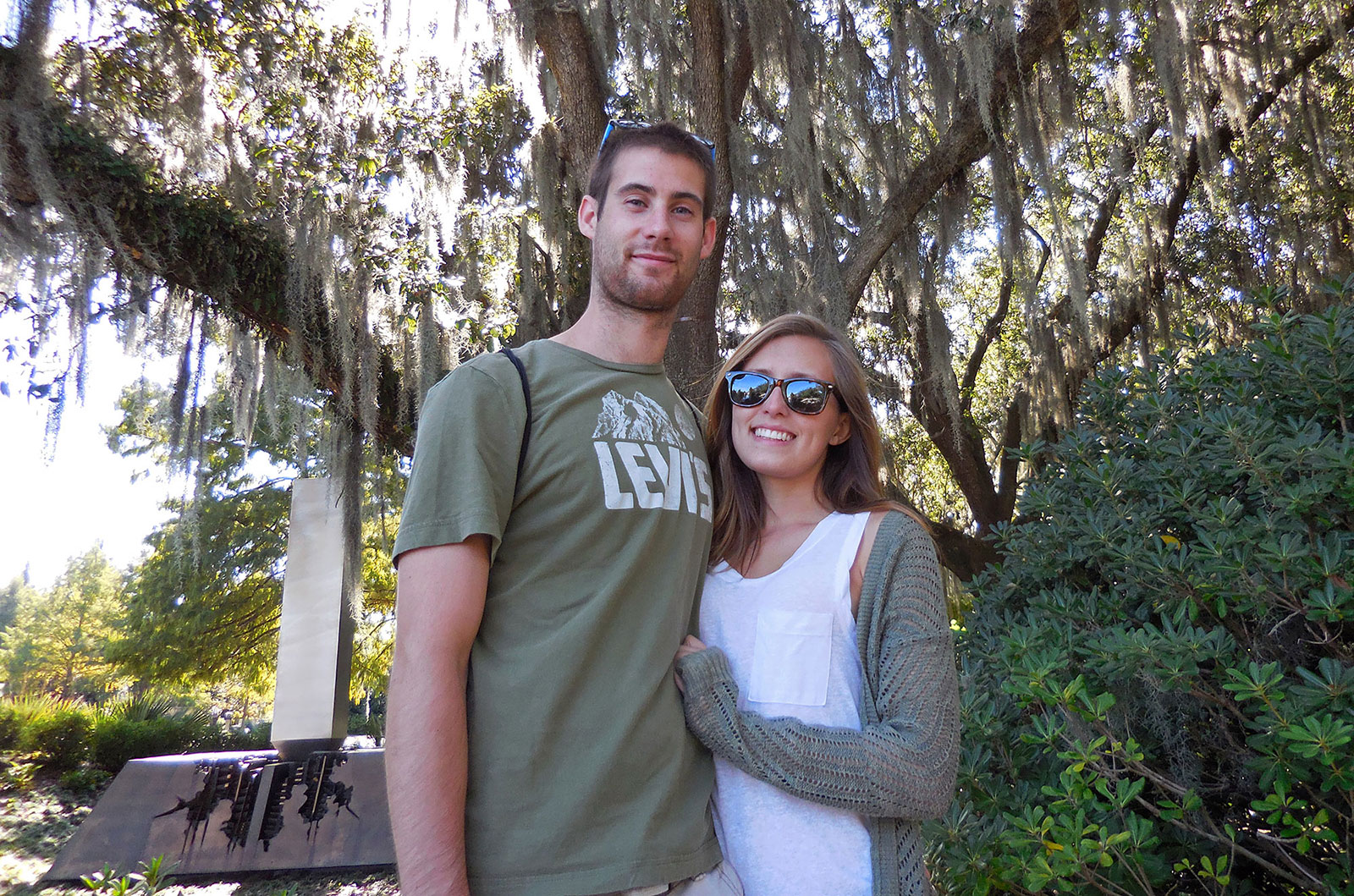 About Us: Brad and Leslie in the Sculpture Garden of City Park in New Orleans Louisiana