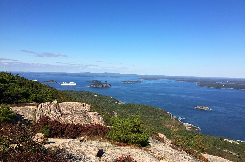 View of the Atlantic Ocean from the Precipice Trail while hiking Acadia National Park