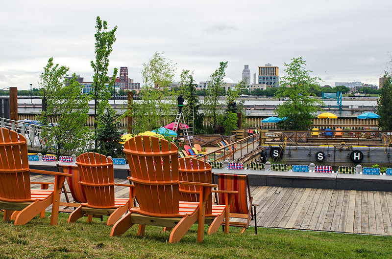 Orange chairs in Spruce Street Harbor Park Philadelphia Pennsylvania