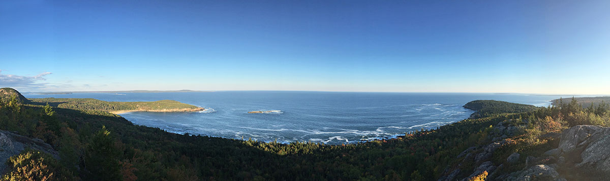 A panorama photo from Gotham Mountain Trail while hiking Acadia National Park