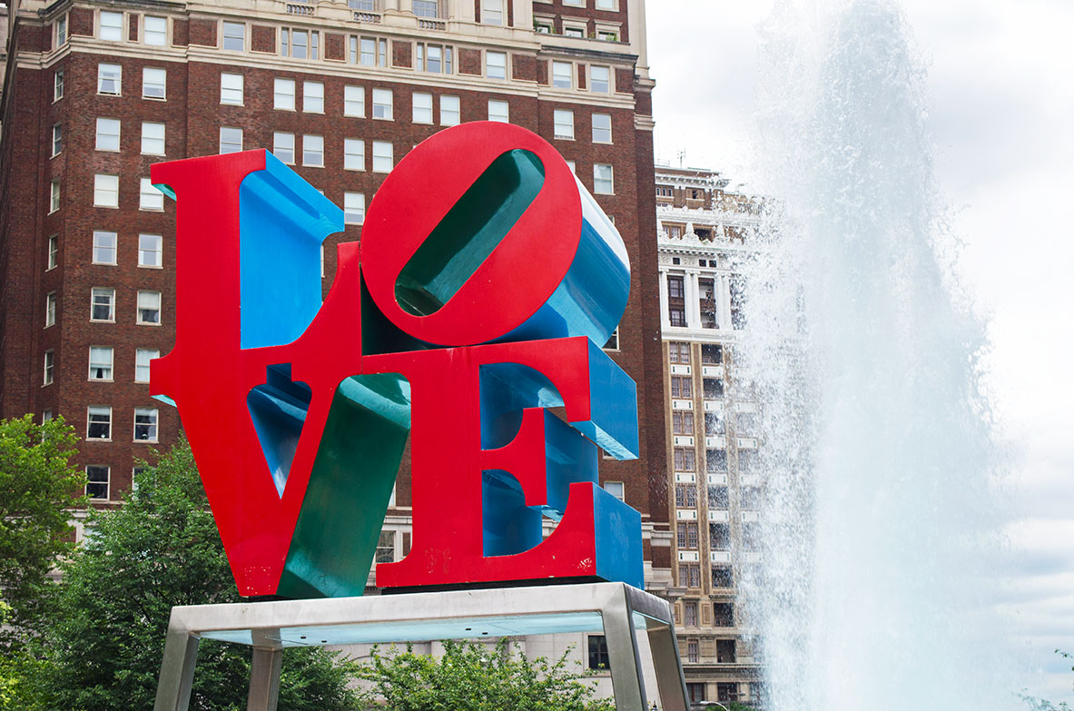 The LOVE sculpture in Philadelphia which we saw during our gap year