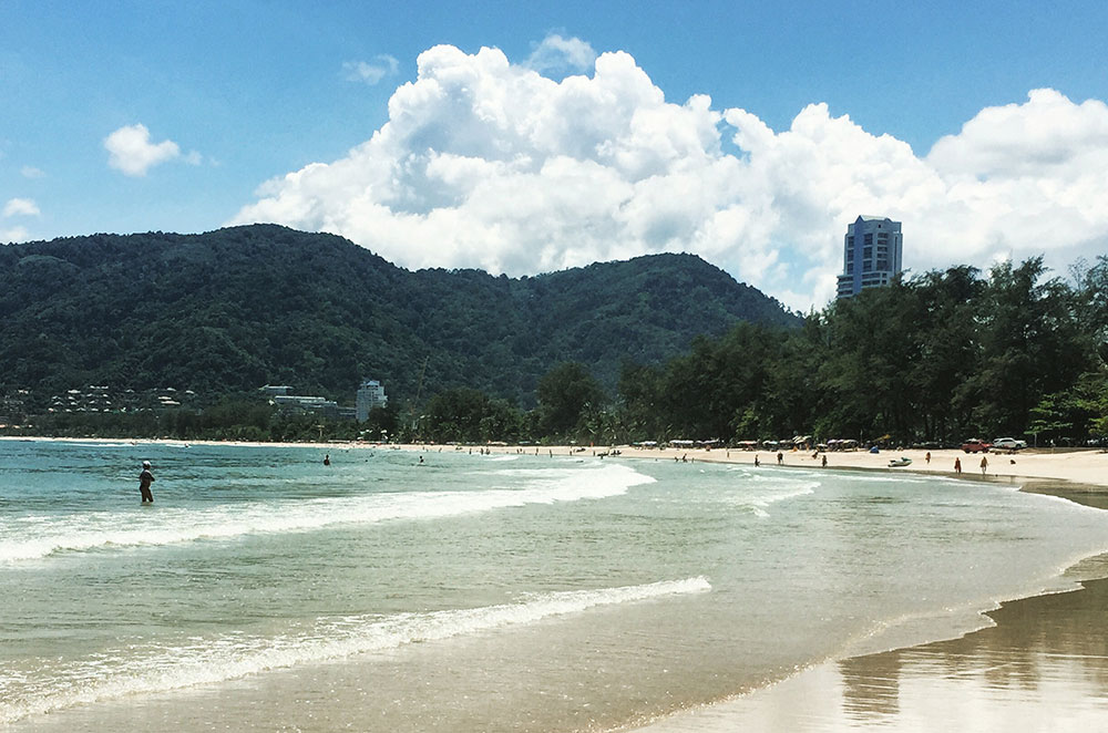Mountains in the background at Phuket Beach
