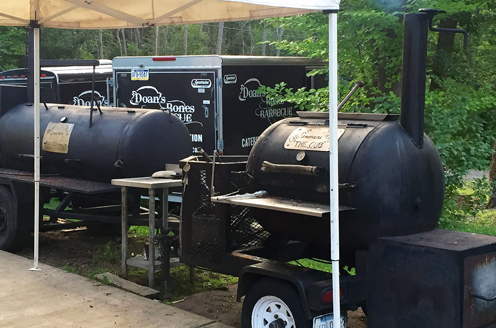 Two Pit Barrel Smokers at Doans Bones Barbecue near State College Pennsylvania