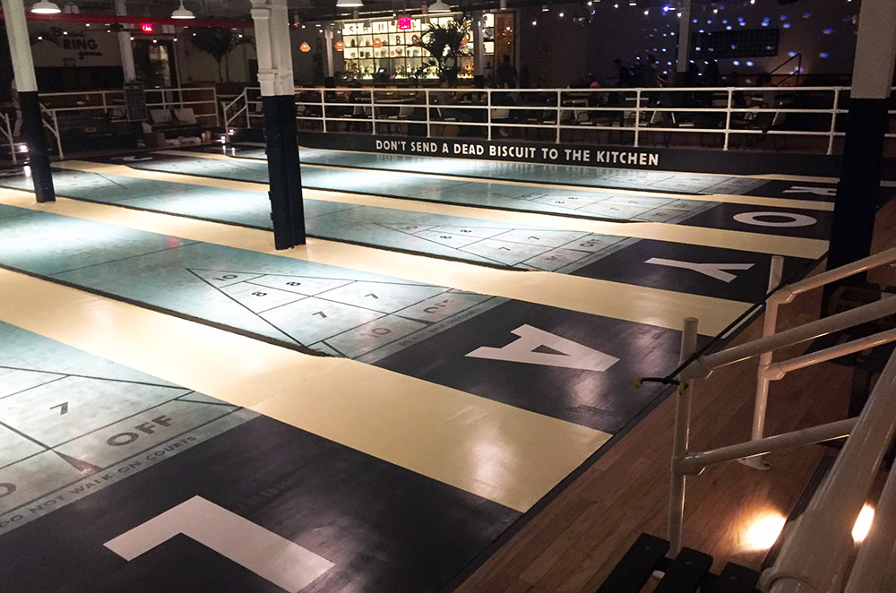 The court at Royal Palms Shuffleboard Club in Brooklyn New York City