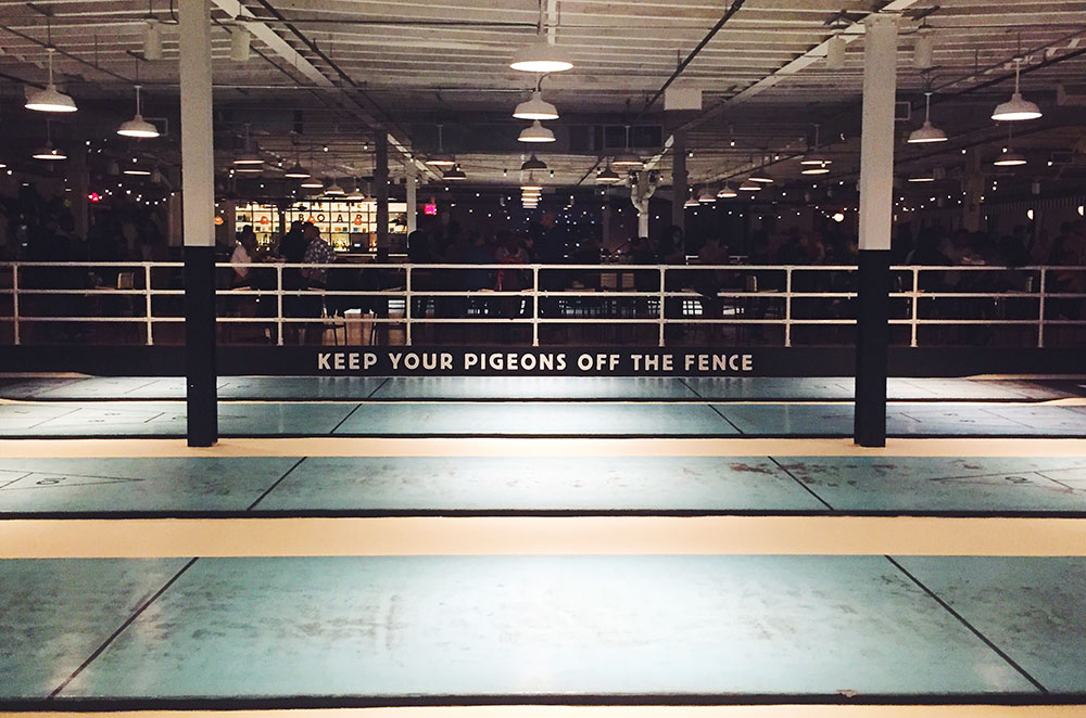 Keep your pigeons off the fence at Royal Palms Shuffleboard Club in Brooklyn New York City